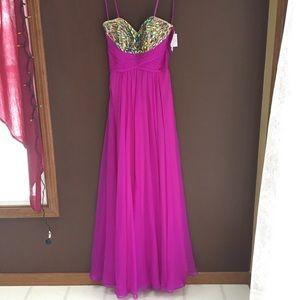Magenta Rhinestone Bodice Chiffon Gown